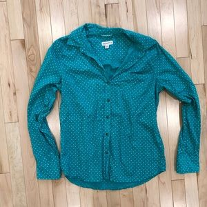 Teal button down polka dot blouse